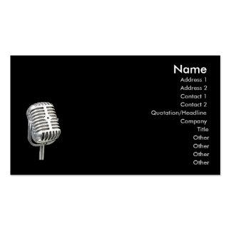 tarjeta de visita del viejo estilo del micrófono d