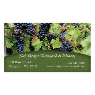 Tarjeta de visita del viñedo de las uvas rojas