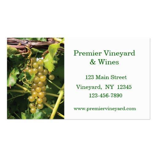 Tarjeta de visita del vino de las uvas