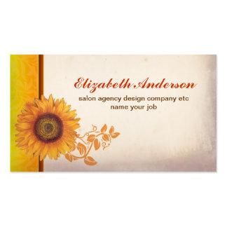 tarjeta de visita del vintage del flor del girasol