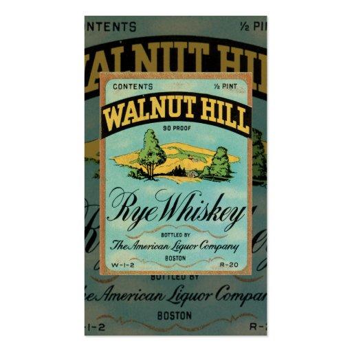 Tarjeta de visita del whisky de Rye del vintage