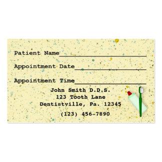 Tarjeta de visita dental de la cita