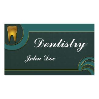 Tarjeta de visita dental del dentista de oro elega
