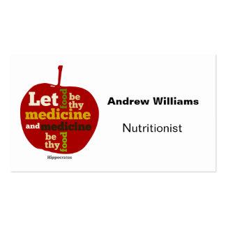 Tarjeta de visita el dietético del nutricionista