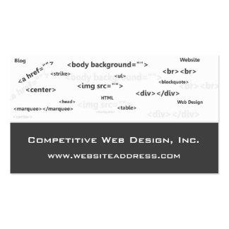 Tarjeta de visita:: El HTML cifra diseño web Tarjetas De Visita