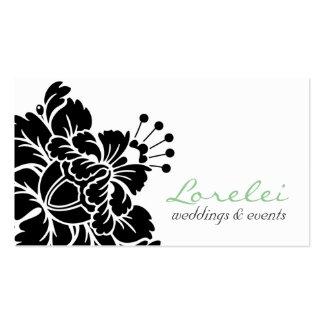 Tarjeta de visita elegante de la flor negra del da