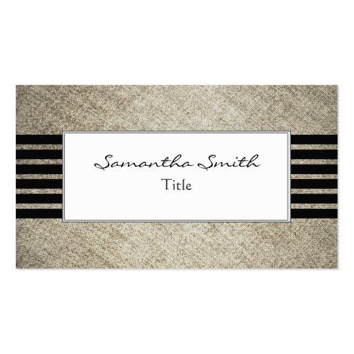 Tarjeta de visita elegante de la tela de lino negr