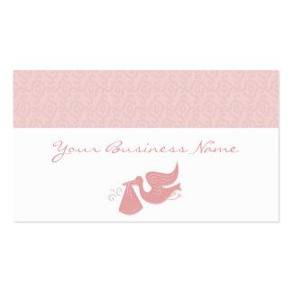 Tarjeta de visita elegante del rosa de la cigüeña
