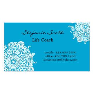 Tarjeta de visita elegante en azul y blanco de cie