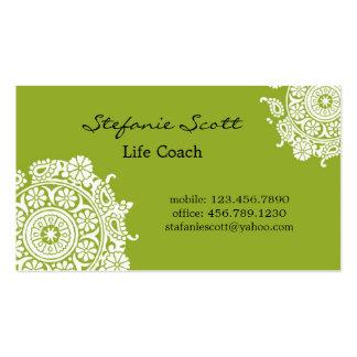 Tarjeta de visita elegante en verde lima y blanco