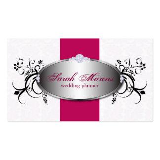 Tarjeta de visita elegante floral del rosa del pla