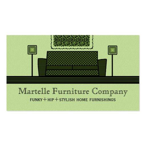 Tarjeta de visita enrrollada de los muebles, verde