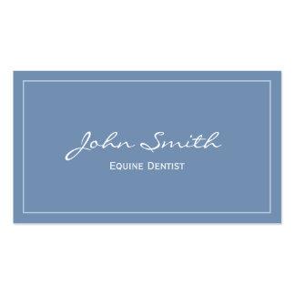 Tarjeta de visita equina azul llana del dentista