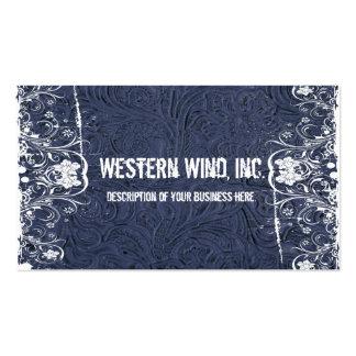 Tarjeta de visita equipada azul del cuero y del co