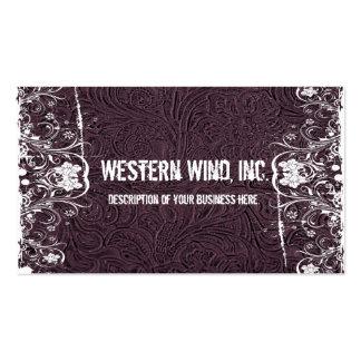 Tarjeta de visita equipada púrpura del cuero y del