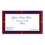 Tarjeta de visita escocesa roja, blanca, y azul de