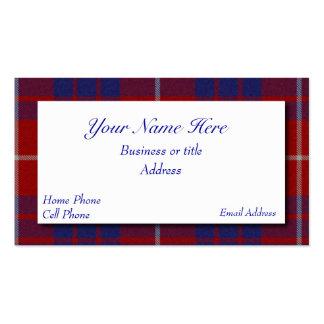 Tarjeta de visita escocesa roja blanca y azul de