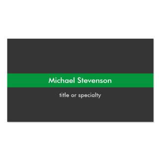 Tarjeta de visita estándar de la raya verde gris