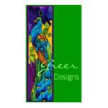 Tarjeta de visita exótica del pavo real