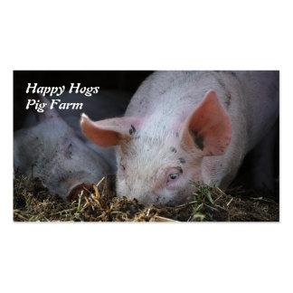 Tarjeta de visita feliz de la granja de cerdo de l