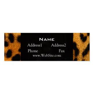Tarjeta de visita flaca de la piel del leopardo de