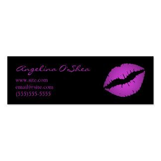 Tarjeta de visita flaca del lápiz labial violeta