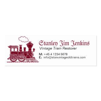Tarjeta de visita flaca del restaurador del tren