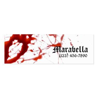 Tarjeta de visita flaca sangrienta del vampiro
