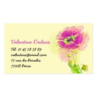 Tarjeta de visita Flor Acuarela