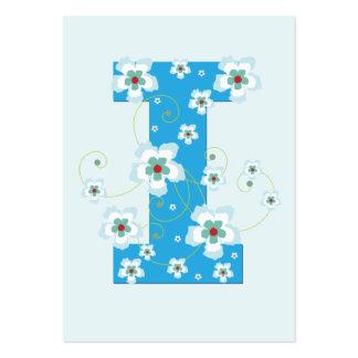 Tarjeta de visita floral azul de la inicial I del