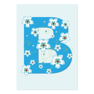 Tarjeta de visita floral azul inicial del monogram
