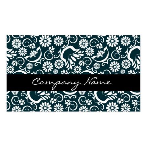 Tarjeta de visita floral blanca negra elegante