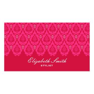 Tarjeta de visita floral bonita del rosa del damas