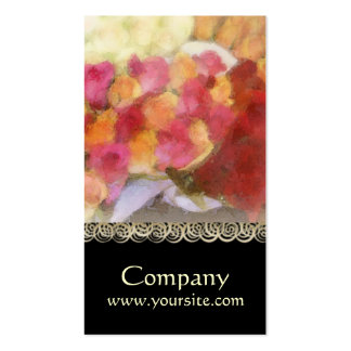 Tarjeta de visita floral color de rosa vibrante