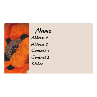 Tarjeta de visita floral de la amapola botánica
