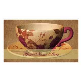 Tarjeta de visita floral del arte de la taza de té