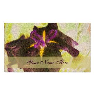 Tarjeta de visita floral del iris púrpura que bril