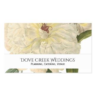 Tarjeta de visita floral del Peony blanco botánico