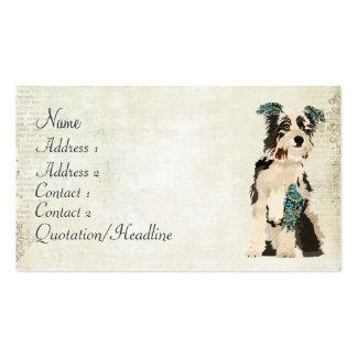 Tarjeta de visita floral del perro del vintage