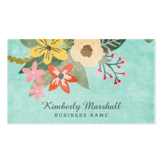 Tarjeta de visita floral pintada
