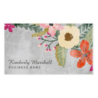 Tarjeta de visita floral pintada/rosa y gris