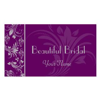 Tarjeta de visita floral púrpura y de plata de la