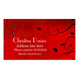 Tarjeta de visita floral roja