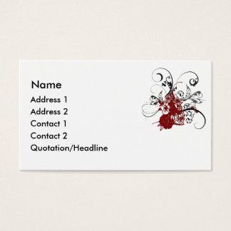Tarjeta de visita floral roja del remolino del