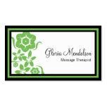 Tarjeta de visita floral verde intrépida de la ter