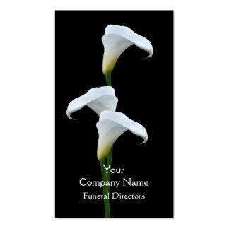 Tarjeta de visita fúnebre blanca del lirio de arum