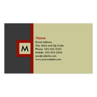 Tarjeta de visita gris y roja moderna del monogram