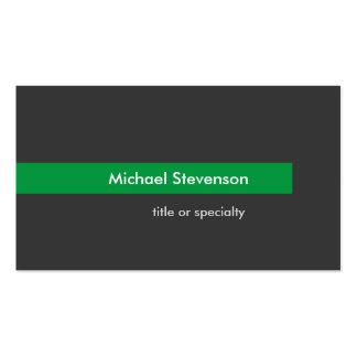 Tarjeta de visita horizontal de la raya verde gris