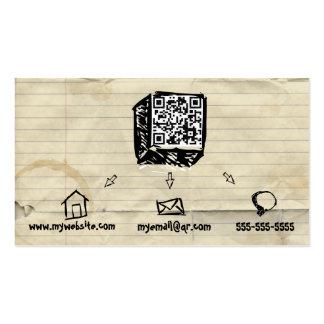 Tarjeta de visita incompleta del código de QR