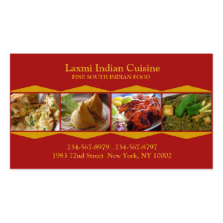 Tarjeta de visita india de la cocina